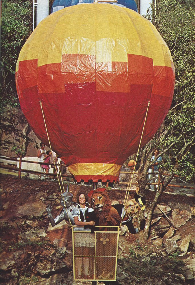 A visitor's day at Land of Oz ended on a high note, with rides on a modified chairlift system fashioned as hot air balloons.