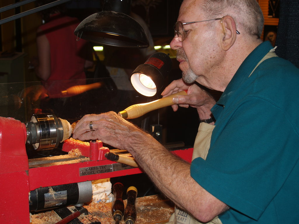 Esteemed woodworker Jim McPhail with his lathe