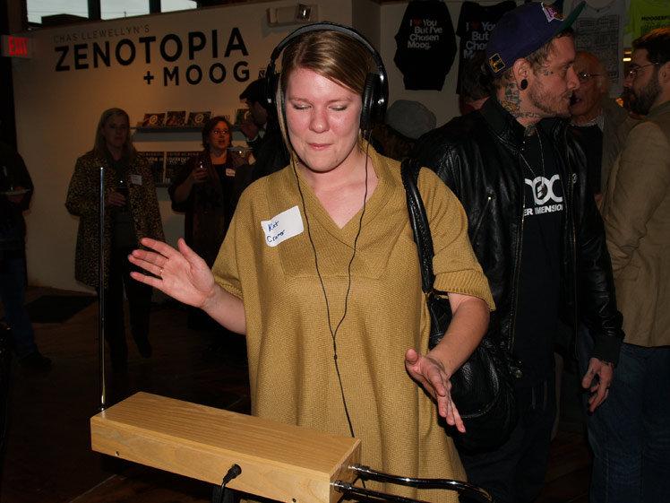 Kat Cramer playing the theremin