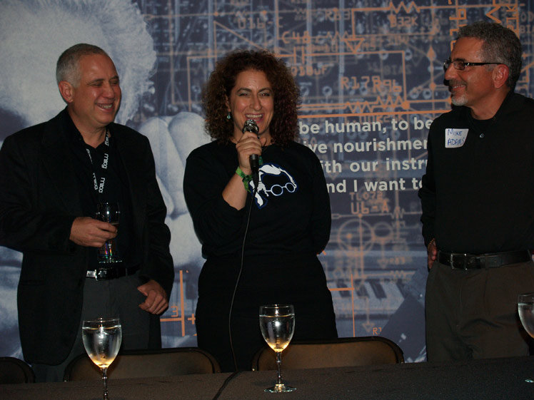 Ashley Capps of AC Entertainment, Michelle Moog-Koussa of Bob Moog Foundation and Mike Adams with Moog Music