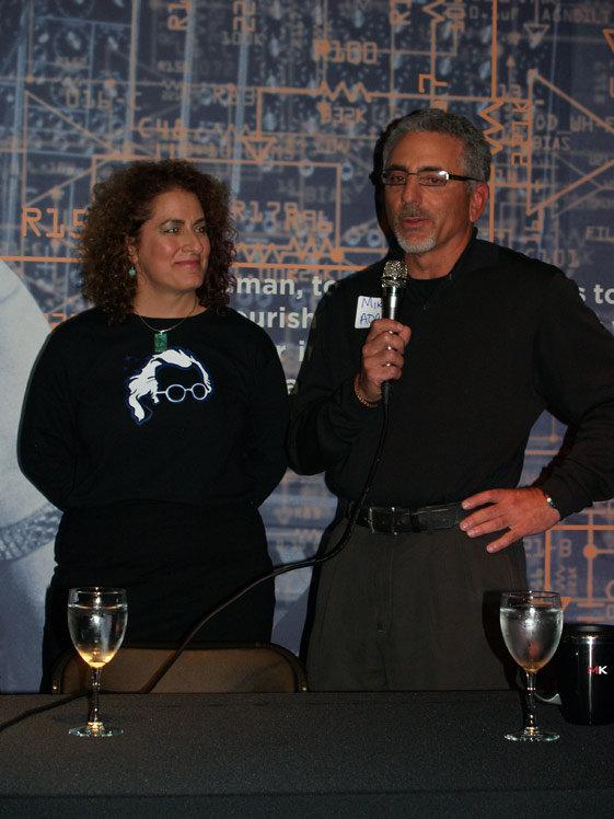 Michelle Moog-Koussa of Bob Moog Foundation and Mike Adams with Moog Music