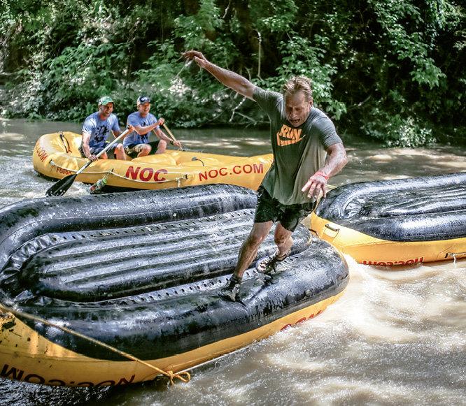 Paul Bakke of Team Whole Body Fitness on the raft bridge