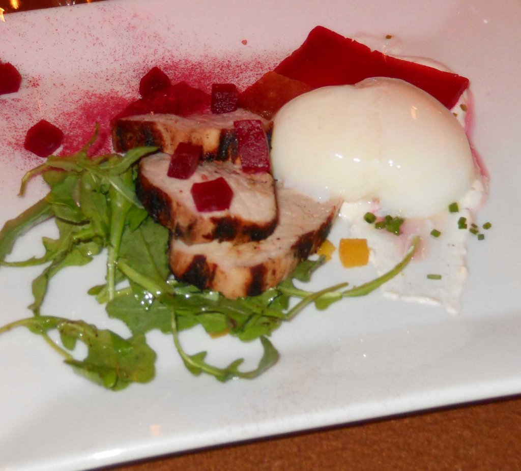 Grilled Pork Loin, 64 Degree Egg and Pickled Beets