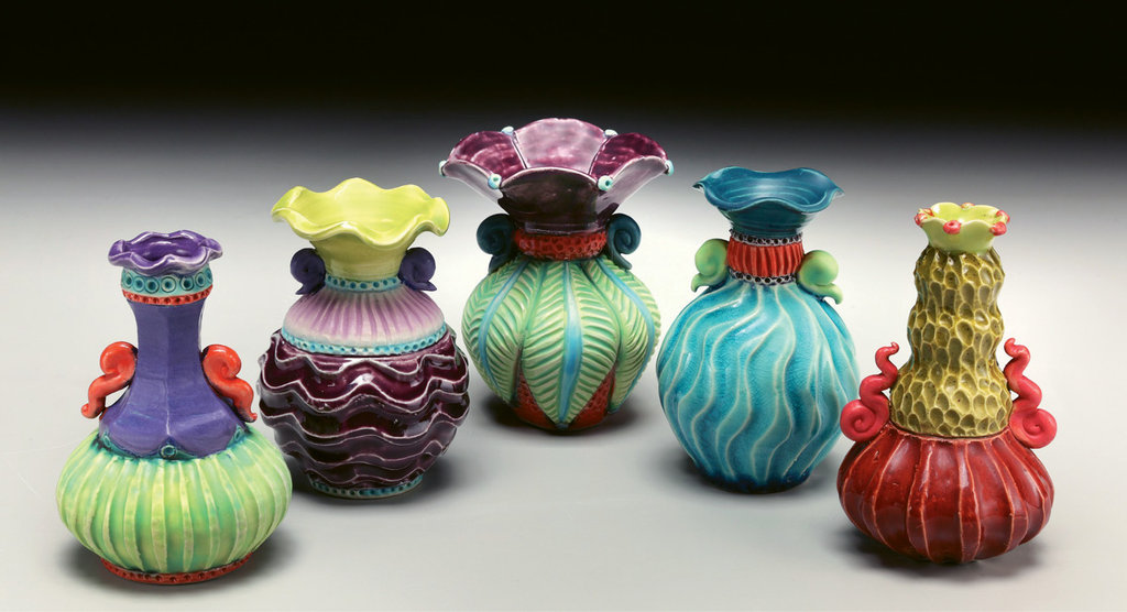 Sherburne embellishes her wheel-thrown pots using hand-building techniques and vivid glazes.