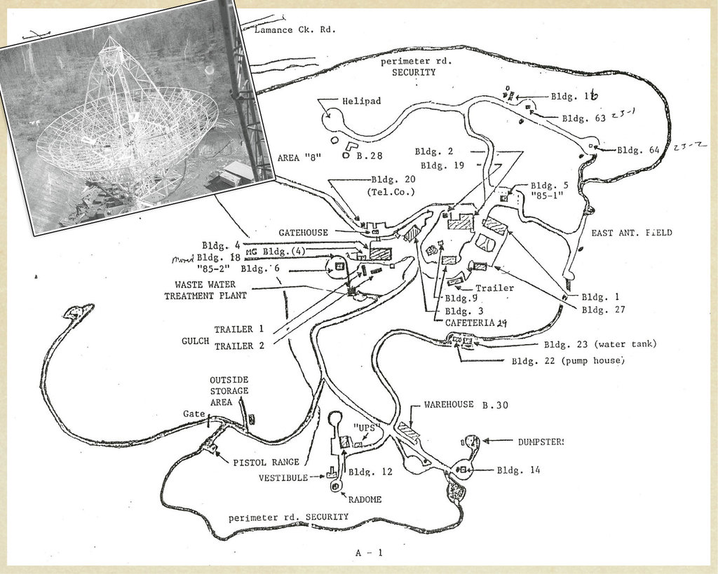 A Defense Department map of Rosman Research Station, prepared as the NSA was pulling out its operations, showed the facility's unusual features, which included a pistol range, a helipad, and even a building devoted to destroying classified documents.