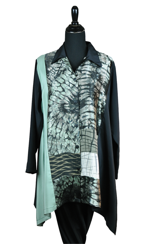 Various dying techniques are incorporated into this collaged blouse.