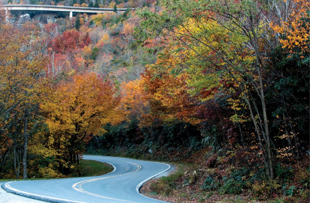 Yonahlossee Road, with the Blue Ridge Parkway above