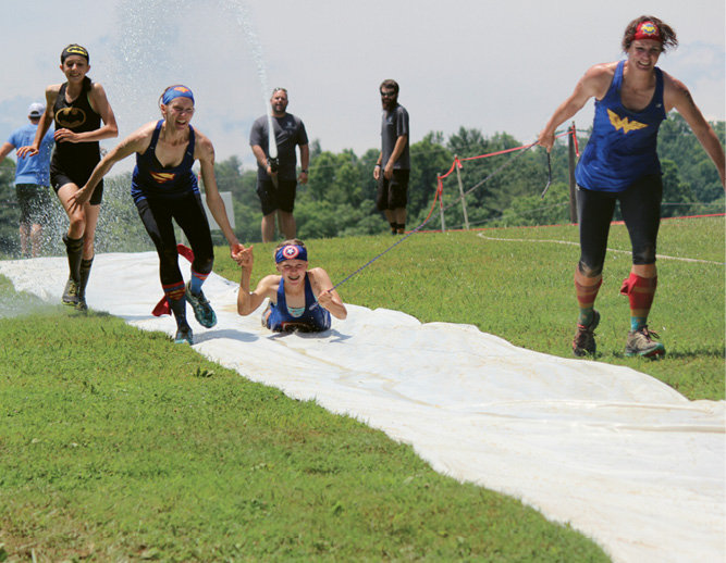 A slip 'n slide was among the obstacles.