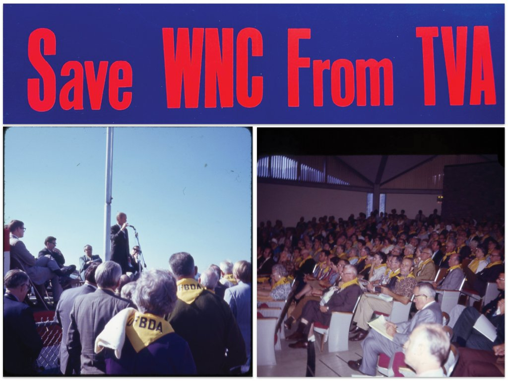 The campaign against the TVA plan picked up momentum in the fall of 1971, as the sticker above graced local bumpers. The UFBDA's trademark yellow scarves were ubiquitous at the TVA's public hearing at UNC Asheville (right) and an environmental rally at the Asheville airport a few weeks later (right) that featured former astronaut and future senator John Glenn.