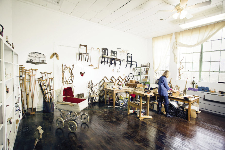 Like her work, Orselli's studio in the revitalized Mill Spring School is a symbol of reuse.
