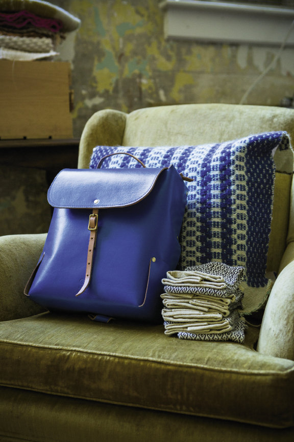 Amber Jensen makes handsome bags, backpacks, hand towels, and other woven goods from her classroom-turned-workshop at Marshall High Studios.