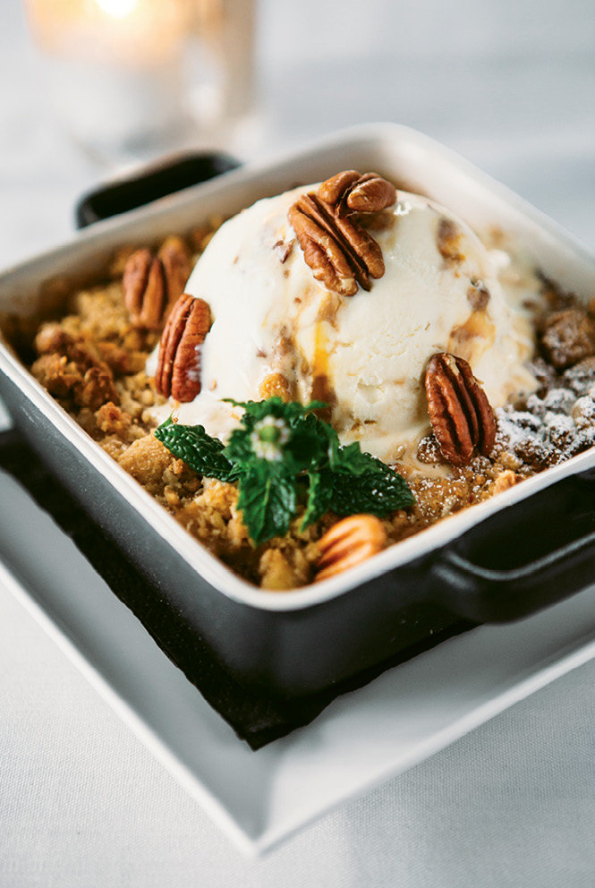 Apple and pear cobbler with brown butter praline ice cream