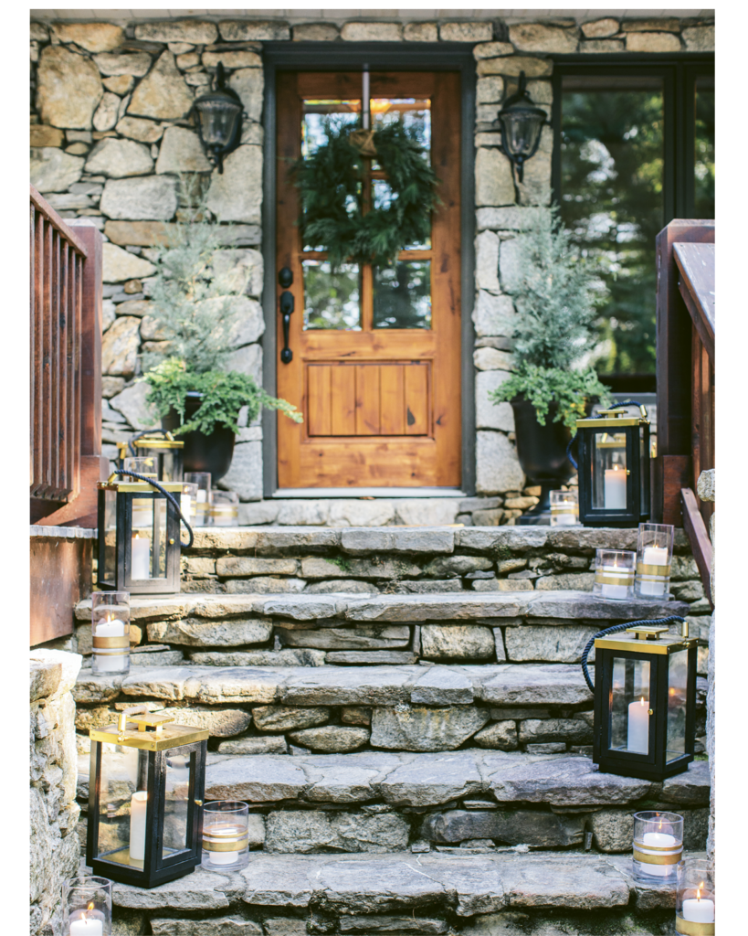 Good Point - If limited on time, focus on decorating the entrance. Simple greenery and hurricane lanterns to light the way will make a great first impression for guests.