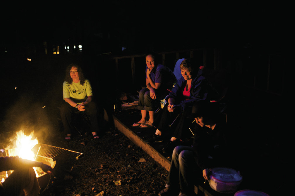 Circle of friends At night, camaraderie is built around the campfire at Fort Hambry Park as the women swap stories about previous BOW experiences or their reasons for signing up  before retiring to their tents.