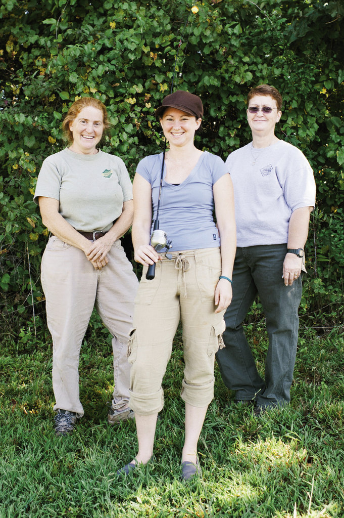 Woodland Warriors Writer Kathryn  Stewart (center) with instructor C.C. King (left) and BOW coordinator B.B. Gillen