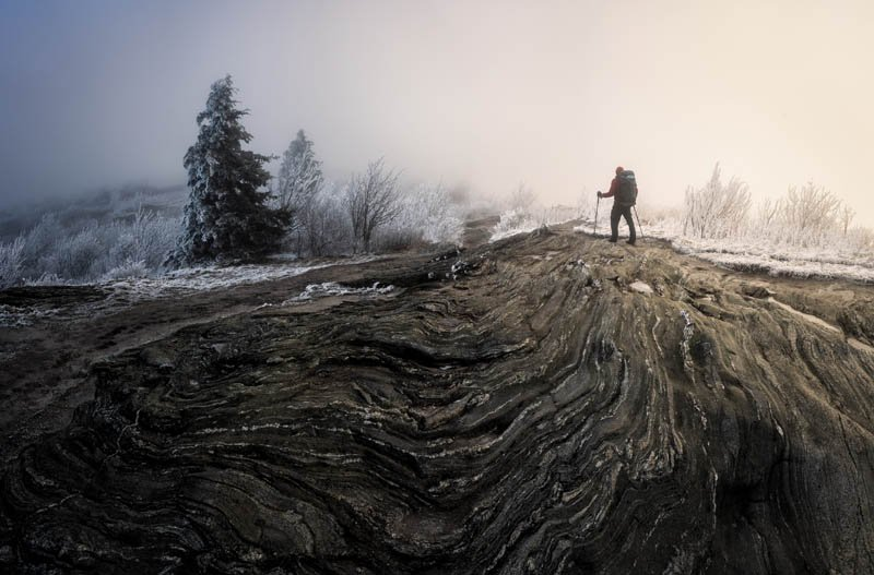 Stone Cold - Shrouded in clouds and ice, Black Balsam Knob along the Art Loeb Trail is spellbinding if not slightly foreboding.
