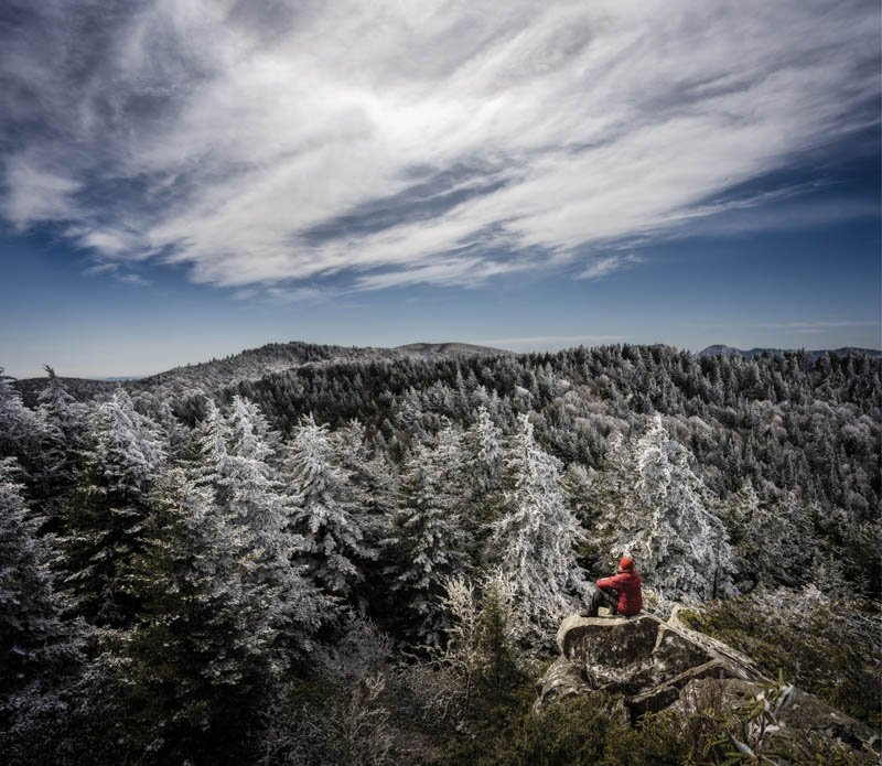 Chill Factor - From atop a quartz rock formation, for which the Shining Rock Wilderness in Haywood County gets its name, the summit view is above it all.