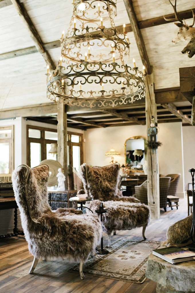 Two plush alpaca wool chairs from Old Hickory Tannery are the focal point in the living room.