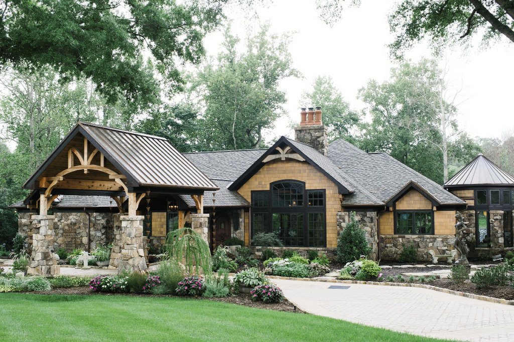 Many elements of Scott and Debra Whitson's lodge-style home are reused, including the footprint.