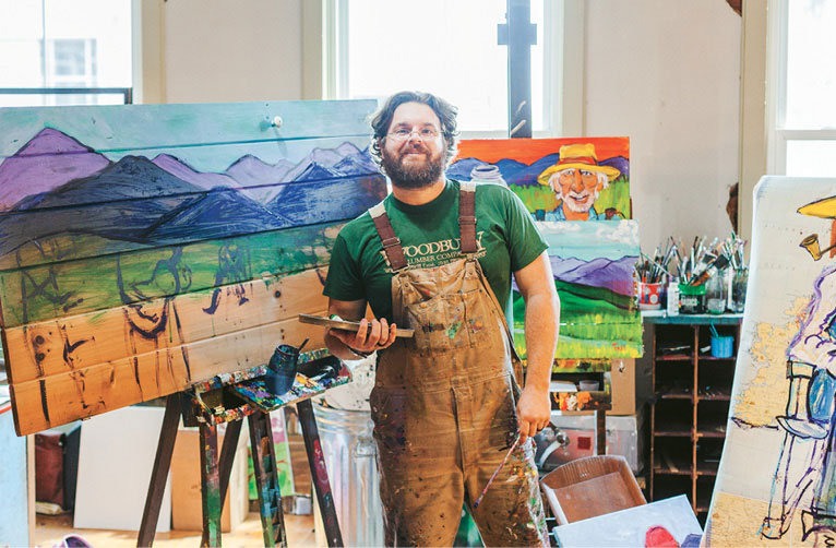 Frye, whose studio is above Highland Coffee House in Lenoir, makes paintings that reflect Appalachia.