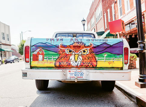 For Frye, reclaimed wood, pots, pans—even his truck, which is ubiquitous around town—serve as canvases.