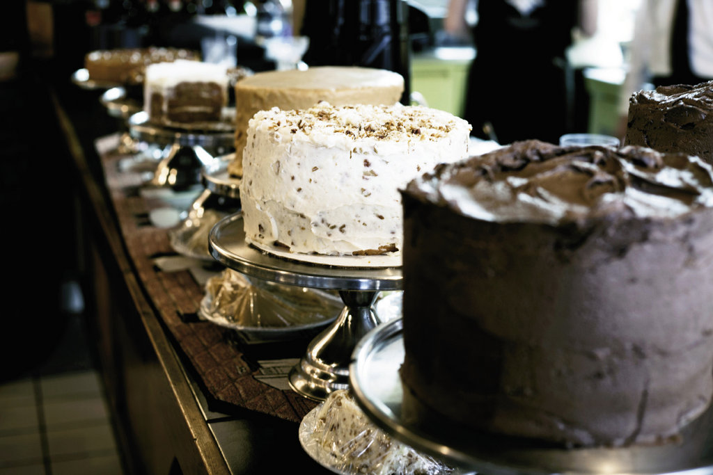 Decadent layer cakes are made in-house.