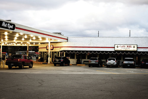 Caffé Rel's gastronomical delights share real estate with a Hot Spot gas station.