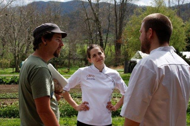 Chef Katie Button with Curate (center) with Chef Gislason (right)
