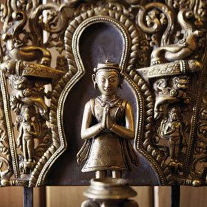Buddha Shakyamuni statue made of copper with gold plating.