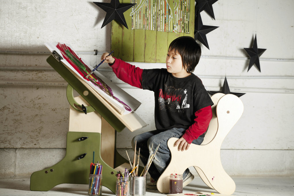the Mondoo Art Table tilts to create an adjustable easel that kids can use while sitting on the floor, in a chair, or even standing. Photograph by Marc Newton
