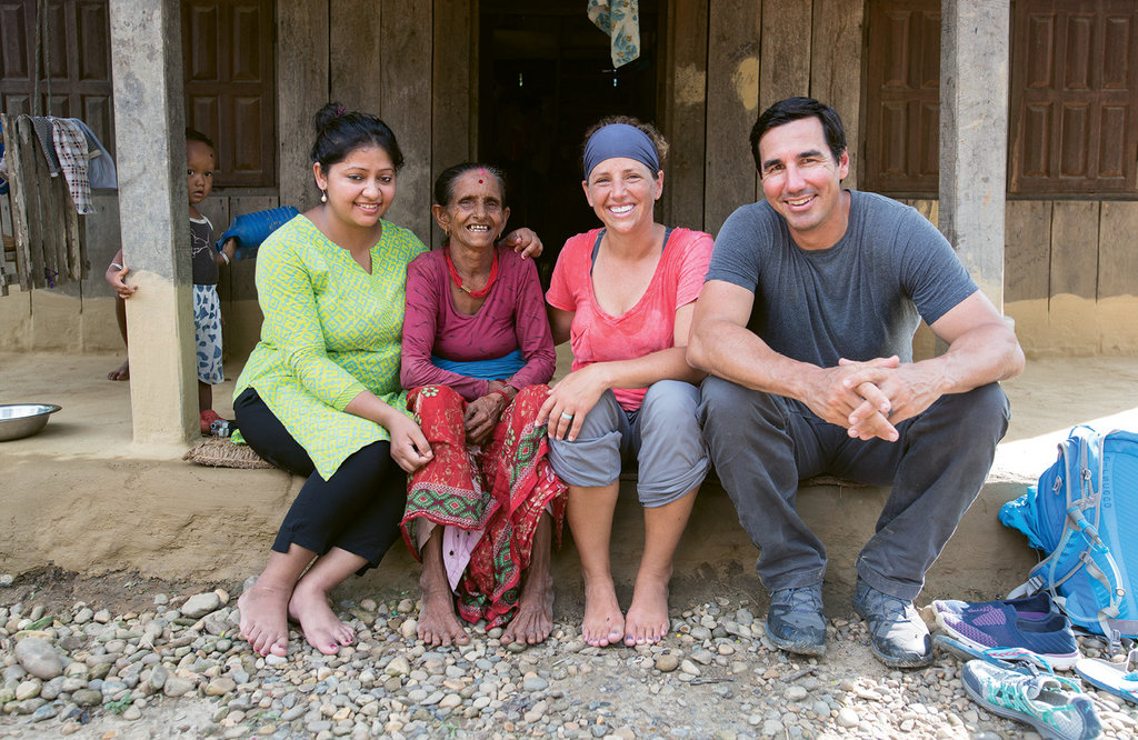 Good Work - Sparked by the 7.8-magnitude earthquake in 2015, the program in Nepal has now improved the lives of nearly 40,000 people. From left, Nepal National Program Leader Roshani Karki, a local Nepalise woman, Leslie Cuthbert, and CEO David Cuthbert