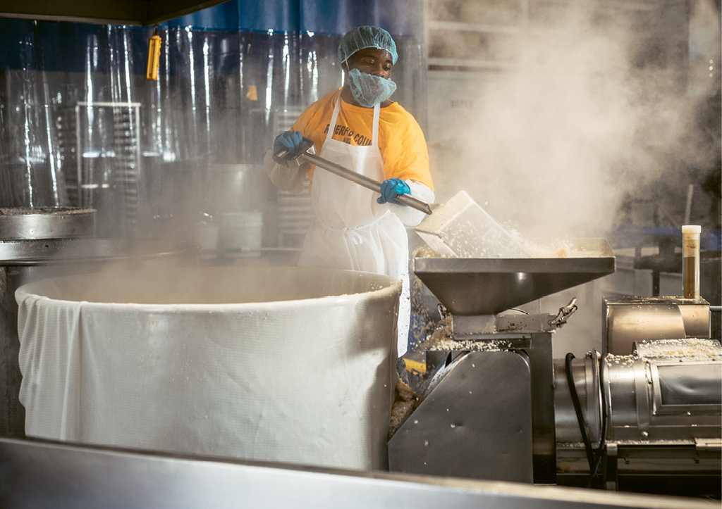 The factory offers a feast for all the senses, from the metallic bang of large cook pots to the steamy humidity of fresh-cooked grains and beans to tangy wafts of miso.