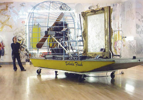 the Saluda Flash carried a  mirrored painting down the French Broad River as the reflections on its surface were filmed. The boat, video, and painting were part of an exhibit at Brandeis University in 2003.