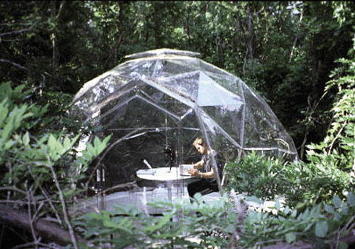 "O'Neal created a polycarbonate dome for The O.V. Project at Little Italy Peninsula Arts Center near Charlotte. Inside, night vision goggles allowed a viewer to observe animals in the dark, but that was just one facet of the interactive experience, which ""in the end, all happens in your mind,"" O'Neal says."