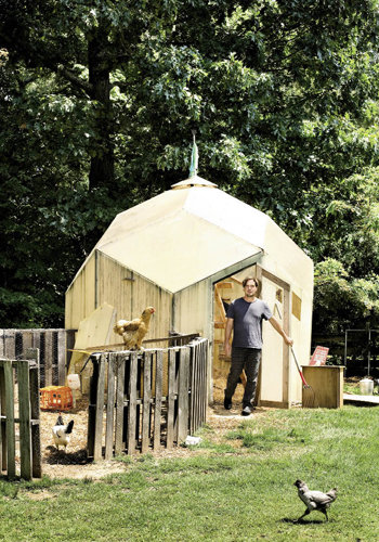 O'Neal's chickens live in a domed coop of his design.