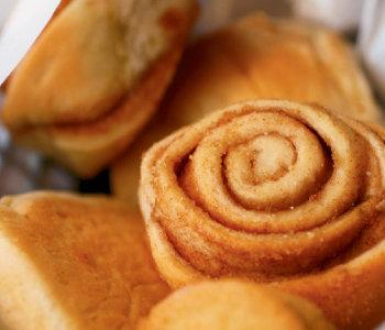 The breadbasket with homemade cinnamon rolls at Mary Mac's Tea Room.
