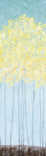 "Autumn Blush,  36"" x 11"" x 1"", acrylic  & wax on panel  by Sarah Faulkner"