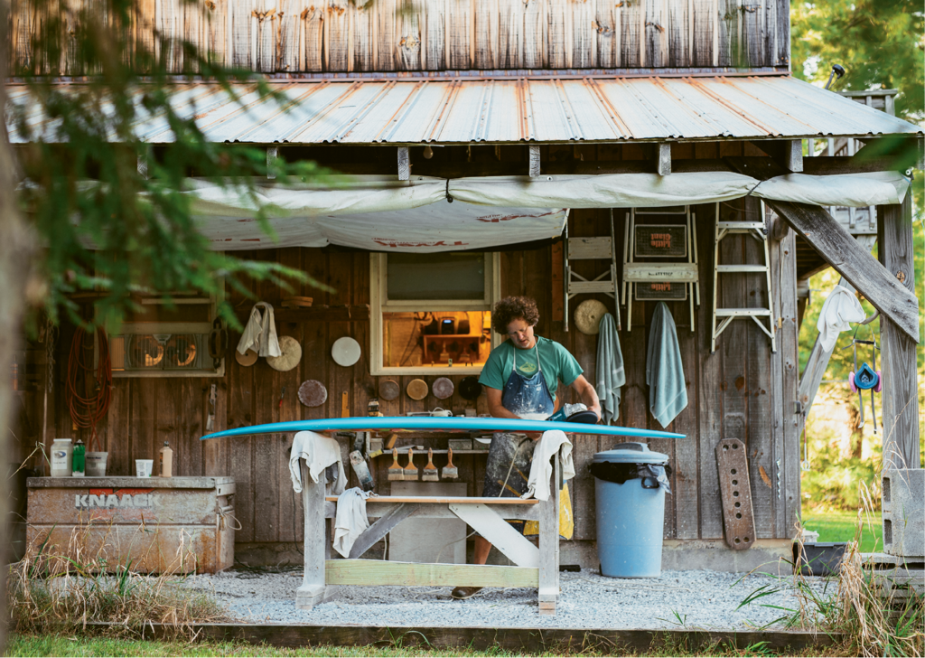 A resident of the High Country since 1988, Pressly builds surfboards from his studio next to his Valle Crucis home. Each takes about 30 hours to make, and he ships them nationwide. And any time the surf's up, he heads to the coast.