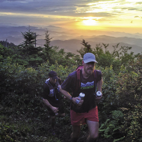 Jonathan StClair (front) and Jason Taft joined writer Eric Heistand to run a route dubbed the BlackBurn, a 40-mile trail system that links the Black Mountain Crest Trail with Big Butt Trail, crossing through Yancey, Buncombe, and Madison counties.