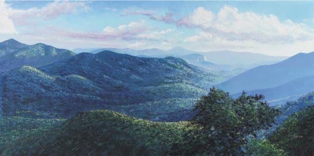 "Blue Ridge in Summer, oil on canvas, 24"" x 48"" Ray Byram, Pisgah Forest"