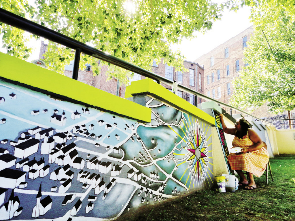 The Triangle Park mural draws on Asheville's African-American past