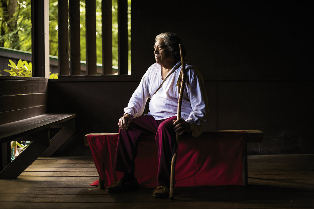 looking back At the Oconaluftee Indian Village, tribe member Robert Wolfe helps interpret Cherokee history. The cultural attraction thrives thanks to support from the Cherokee Preservation Foundation.
