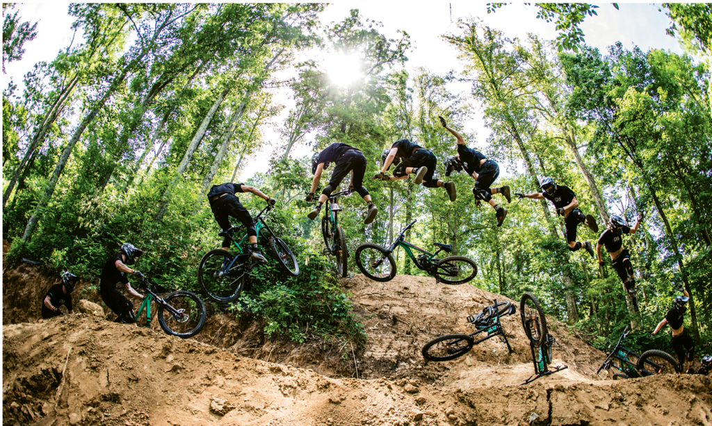 Derek DiLuzio, Evan Voss attempts a 360-degree spin on his mountain bike. Professional category