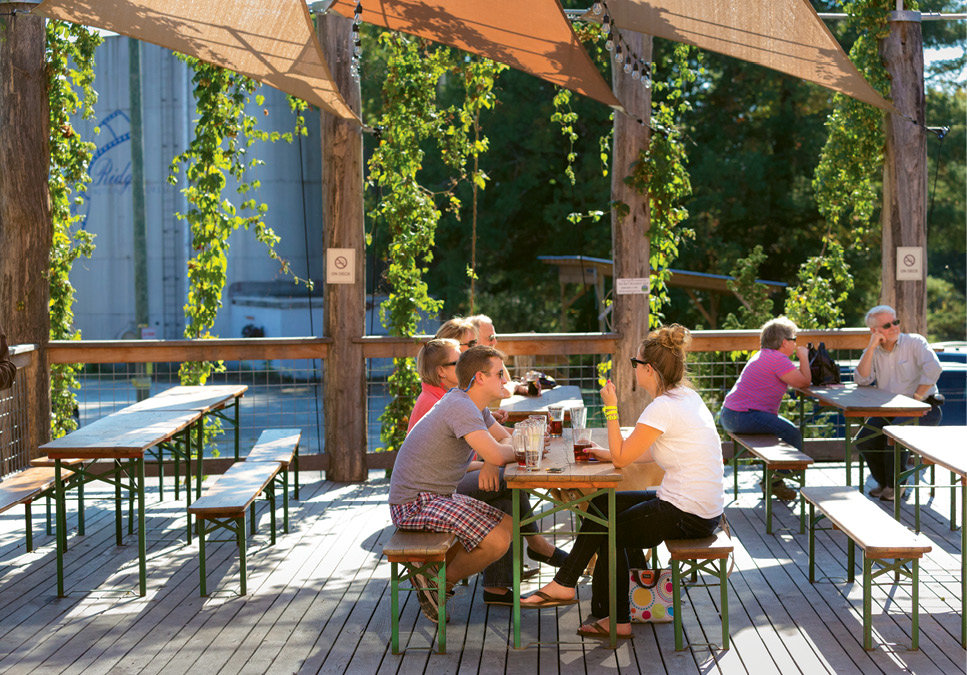 Sit and Sip - The shaded, ground-level deck is a favorite spot for regulars at the brewery.