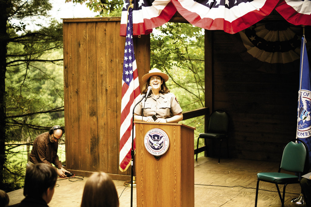 arah Perschall, a National Park  Service staffer at the Sandburg Home, welcomed the crowd.