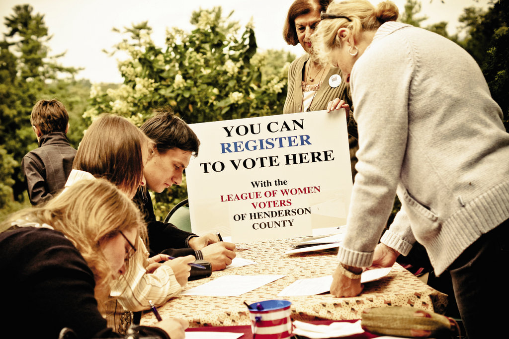 local volunteers staffed a voter registration station.