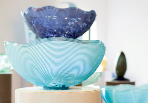 At his Penland studio, Mark Peiser forges a style that has evolved from figurative designs to his current series, Cold Stream Cast Vessels (shown).