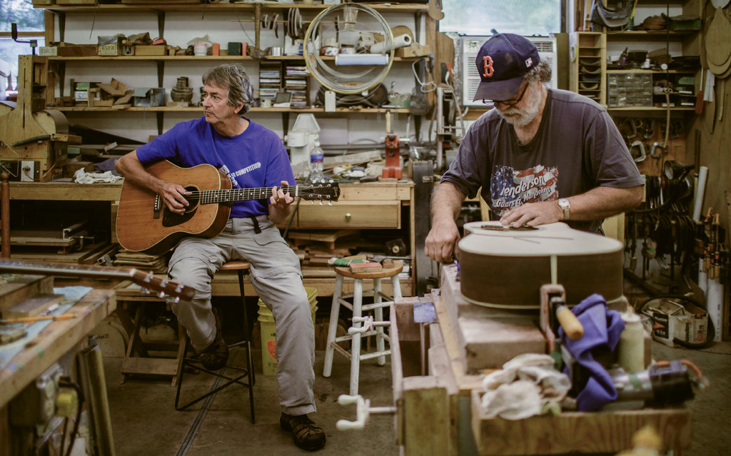 Wayne's workshop is something of a hangout among friends and locals, who drop by to pick and jam.