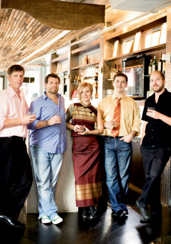 Left to right, Billy Klingel of The Lobster Trap, Josh Bailey of Zambra, Erin Hardy of The Southern, Joel Hartzler of Rankin Vault Cocktail Lounge, and Evan Smith of Sazerac