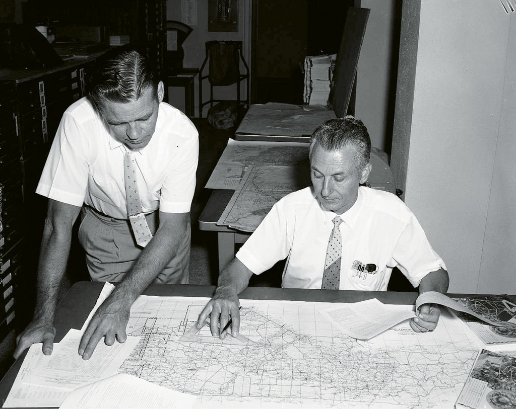In the early days, maps were hand plotted.